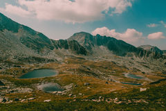 Beautiful mountain landscape in national Retezat Park Romania. Lots of small lakes in the valley Royalty Free Stock Image