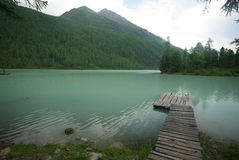 Beautiful mountain landscape near the lake. Mountain Lake. Kind of mountainous terrain and the water in the valley Stock Photo