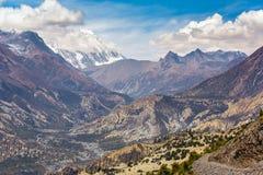 Beautiful mountain landscape near Ngawal village in Himalayas Stock Photos