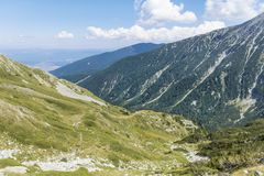 Beautiful Mountain Landscape  in  Pirin  Mountain,Bulgaria. Summer in Pirin mountain,Bulgaria.Hills with Pines Stock Images