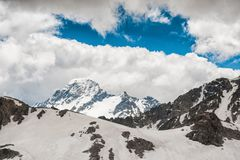 Beautiful mountain landscape with snow and blue sky Stock Photography