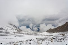 Mountain landscape on the snow-covered Thorong La pass, Nepal. Royalty Free Stock Photography