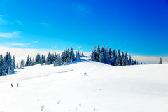 Beautiful mountain landscape and snowy paths in the snow with tourists. Royalty Free Stock Image