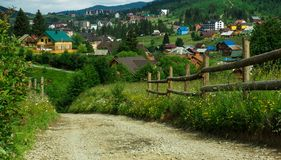 Beautiful mountain landscape in summer. a view of the village royalty free stock image