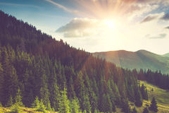 Beautiful mountain landscape at sunshine. Royalty Free Stock Photos