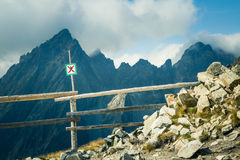 A beautiful mountain landscape in Tatry with a sign. A beautiful mountain landscape in Tatry, Slovakia with a sign stock photo