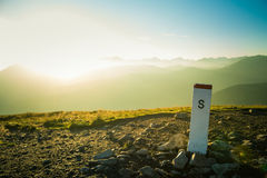 A beautiful mountain landscape in Tatry with a sign. A beautiful mountain landscape in Tatry, Slovakia with a sign royalty free stock image