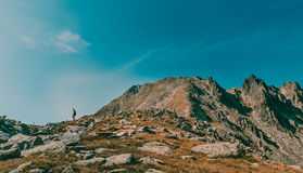 Beautiful mountain landscape with traveler finding a path in national Retezat Park Romania Royalty Free Stock Images