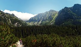Beautiful mountain landscape travelers High tatras mountains Slo Royalty Free Stock Photography