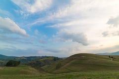 Beautiful mountain landscape with trees and a cloudy morning sky. Dumesti, Salciua, Apuseni, Romania royalty free stock photos