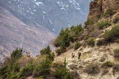 Beautiful mountain landscape with two hikers with backpacks Royalty Free Stock Images