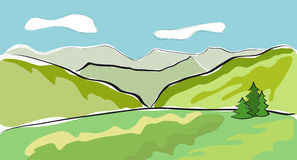 Beautiful mountain landscape. Vector illustration Stock Photography