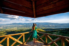 Beautiful mountain landscape view from the terrace Royalty Free Stock Images
