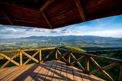 Beautiful mountain landscape view from the terrace Royalty Free Stock Photos