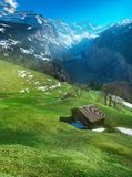 Beautiful mountain landscape, village on hill Royalty Free Stock Photos