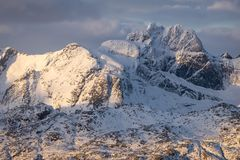 Beautiful mountain in Lofoten archipelago in winter season, Norw. Ay, Scandinavia, Europe Royalty Free Stock Photos