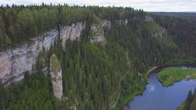 Beautiful mountain lookout high on the Mountains. Clip. Huge valley with thick eucalyptus forest. Top view of a large. Cliff in the forest stock footage