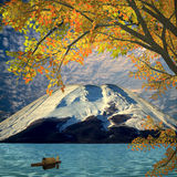 Beautiful mountain and maple Stock Images