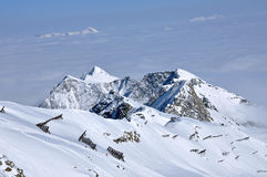 Beautiful mountain massif covered in snow at winter Royalty Free Stock Photography