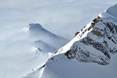Beautiful mountain massif covered in snow at winter Royalty Free Stock Images