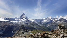 Beautiful mountain Matterhorn , Swiss Alps. Matterhorn is a mountain in the Pennine Alps on the border between Switzerland and Italy Royalty Free Stock Photography