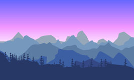 Beautiful mountain morninglandscape. Silhouette of a forest on t. Beautiful mountain morning Royalty Free Stock Photo