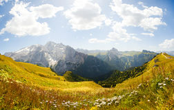 Beautiful mountain panorama - marmolada glacier Royalty Free Stock Photo