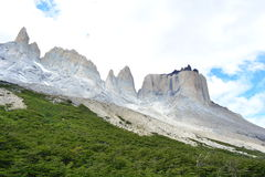 Beautiful mountain peaks at Torres del Paine National Park, Chile. View of the mountain cliffs at the Valle del Frances valley in Torres del Paine National Park royalty free stock images