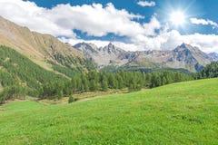 Beautiful mountain range along the Bernina Pass near St. Moritz, Switzerland Stock Photography