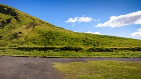Mountain landscape with blue sky at Skogafoss, Iceland Royalty Free Stock Photos