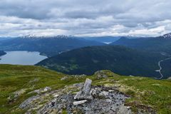 Beautiful mountain range, in Norway. Mountain near Stryn, Norway. 2015 Stock Photo
