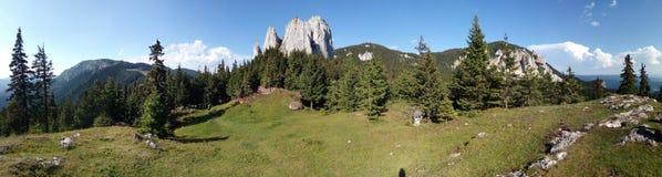 Beautiful mountain ridge panorama. Panorama of a mountain ridge in Carpathian Mountains Stock Photography