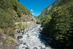 Beautiful mountain river Enguri  in Svaneti. Georgia Stock Photos