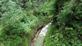 River in a mountain gorge, Guamka, Russia stock video