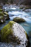 Beautiful mountain river gave d`ossau in long exposure, pyrenees, france. Beautiful mountain river gave d`ossau in long exposure, pyrenees royalty free stock images