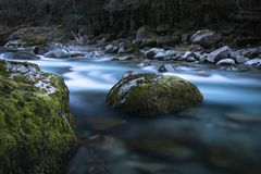 Beautiful mountain river gave d`ossau in long exposure, pyrenees, france. Beautiful mountain river gave d`ossau in long exposure, pyrenees Stock Image