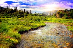 Beautiful mountain river landscape Royalty Free Stock Image
