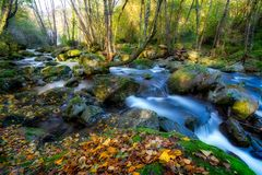 Beautiful mountain river from Spain, long exposure picture royalty free stock photos