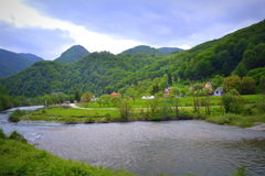 Beautiful mountain river view. Lim river valley and mountain ridges scenic view, Montenegro Royalty Free Stock Images