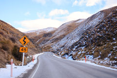 Beautiful mountain road from lake wanaka to queen town south isl Royalty Free Stock Images
