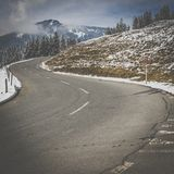 Beautiful mountain road in Swiss Alps royalty free stock photos