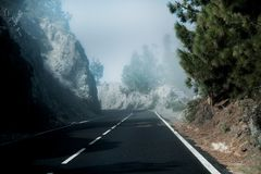 Beautiful mountain road in Tenerife. Road travel concept. Car travel adventure.  stock image