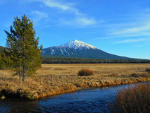 Beautiful Mountain Scene. Mt. Bachelor as seen from Fall Creek - near Bend, OR royalty free stock images