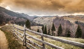 Beautiful mountain scene before a powerful storm. In the Carpathian mountains royalty free stock photos