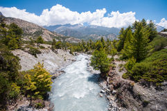Beautiful mountain scenery in Annapurna trail, Nepal Stock Photos