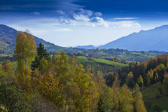 Beautiful mountain scenery and autumn foliage Stock Photo