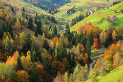 Beautiful mountain scenery and autumn foliage Stock Photography