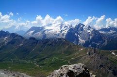 Beautiful mountain scenery with distinctive marmolada glacier mountain. Gardena valley in south tyrol / sella mountain group / marmolada / dolomites Stock Images