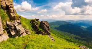 Beautiful mountain scenery in summer. Gorgeous view from rocky cliff in to the valley. amazing Carpathian landscape stock photo