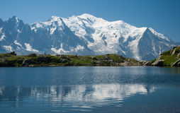 Mont Blanc reflecting in a lake. Beautiful mountain scenery, on the Tour of Mont Blanc, France Royalty Free Stock Images